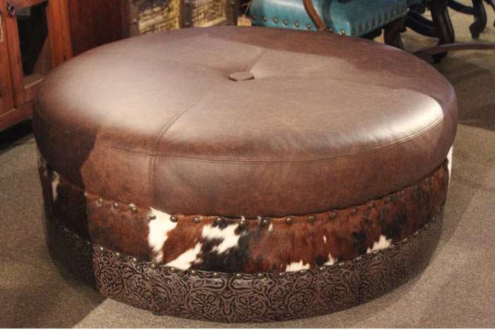 Leather and Cowhide Ottoman