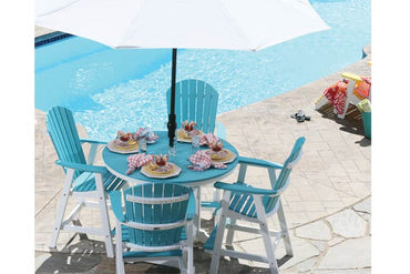 Classic Round Outdoor Dining Set - Bright Blue