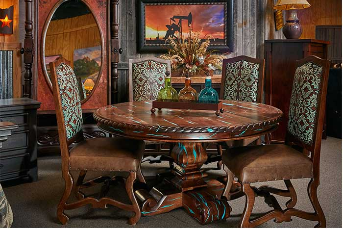 Round Mesquite Dining Table With Turquoise Inlay