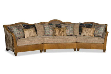 Tomlyn Curved Sectional With Cowhide