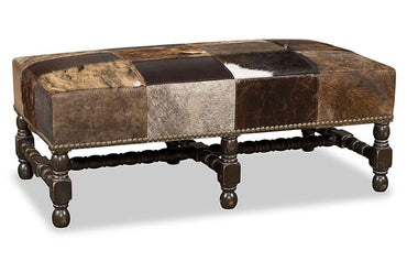 Constantine Leather/Cowhide Patchwork Ottoman
