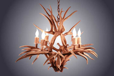 6 Light Inverted Mule Deer Antler Chandelier