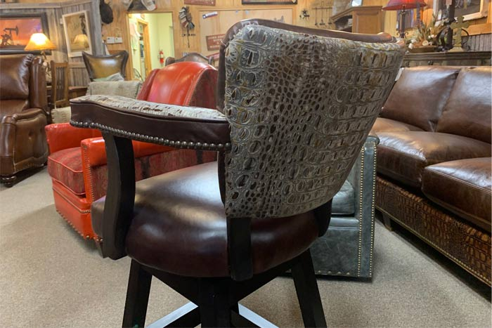 Aged Gator Swivel Bar Chair
