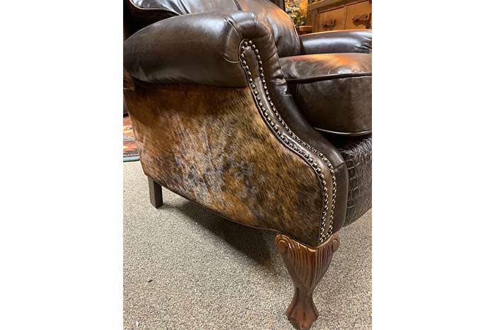 Alejandra Dark Croc and Cowhide Push Back Recliner