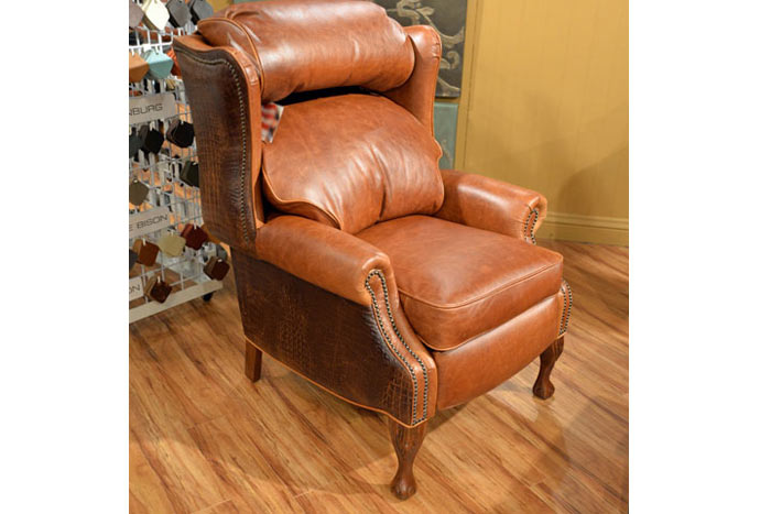 Leather and Gator Wingback Recliner
