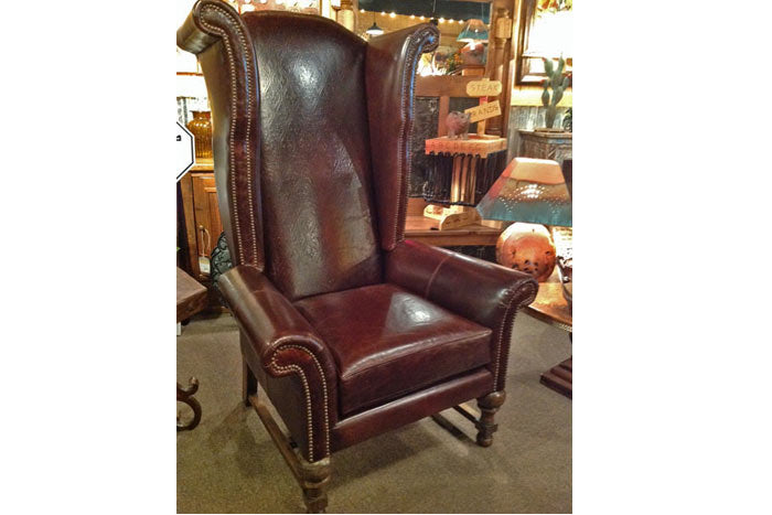Rustic Leather Wingback Chair