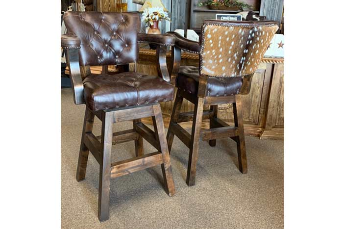 Leather Bar Stool with Axis