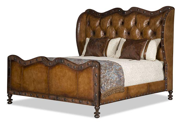Tufted Leather King Size Bed