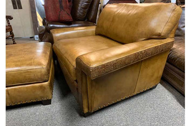 Burnished Leather Chair and a Half With Ottoman