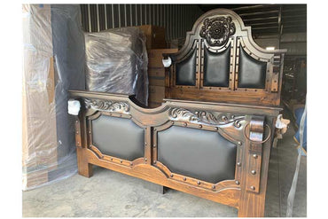 Vintage Black Carved 5 Piece Bedroom Set