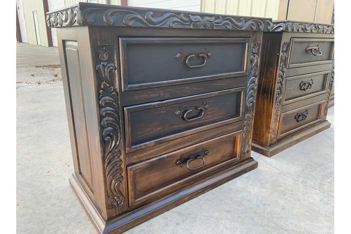 Vintage Black Carved Bedroom Set