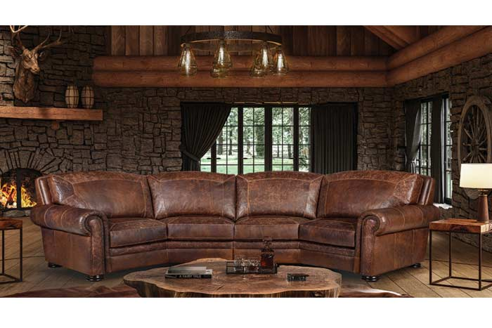 Denver Leather Curved Sectional Sofa
