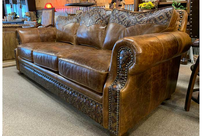 Tooled Leather Sofa