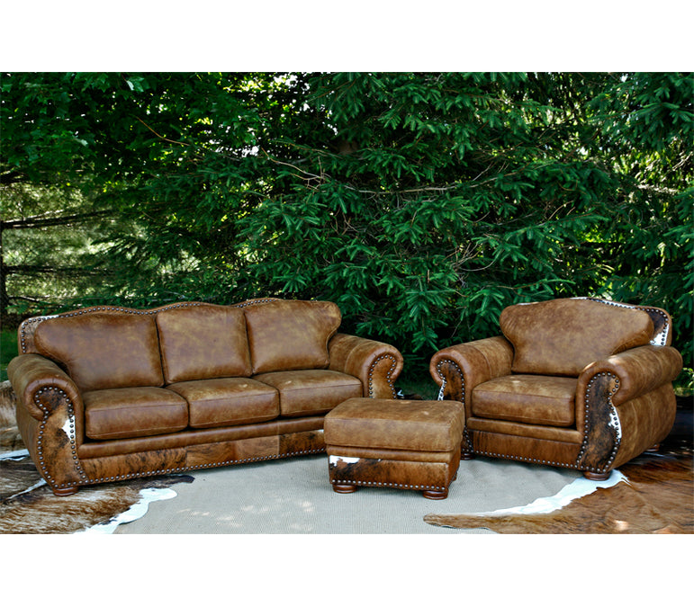 Rustic Leather Chair Set