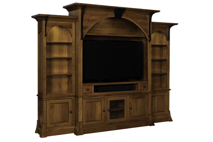 Rustic Wood TV Wall Unit
