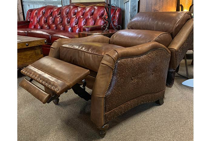 Brentwood Bustle Back Leather Recliner
