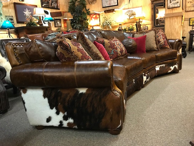 Brompton Leather and Cowhide Curved Sofa