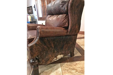 Rustic Leather Push Back Recliner