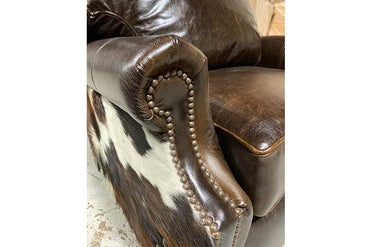 Bronco Leather and Cowhide Push Back Recliner