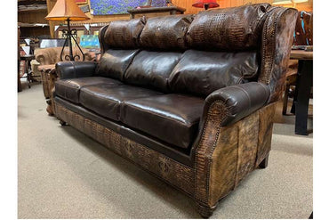 Bustle Back Gator and Cowhide Sofa