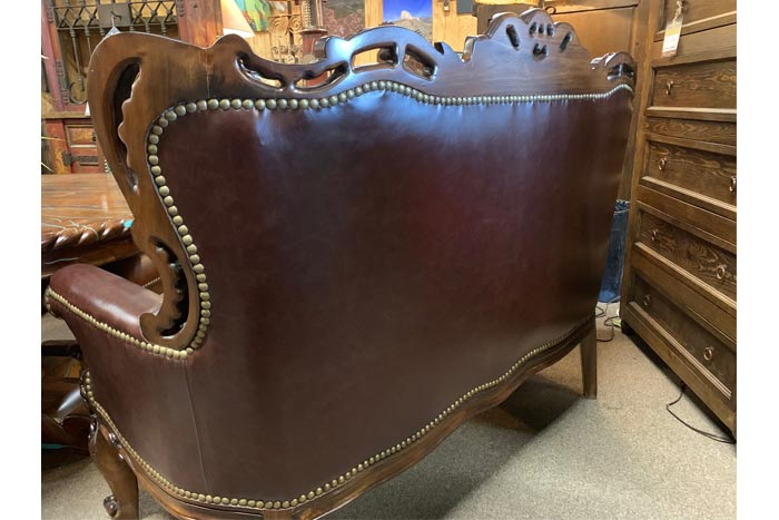 Rustic Leather Loveseat