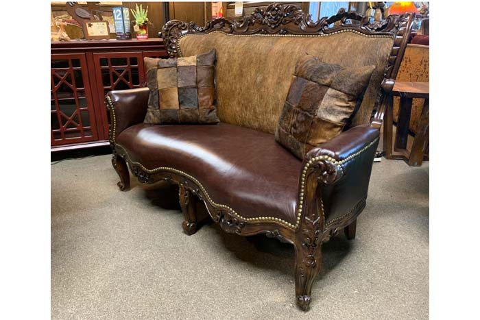 Western Leather And Cowhide Settee