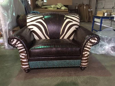 Western Royalty Chair and a Half - Zebra
