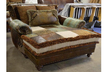 Rustic Leather Chaise