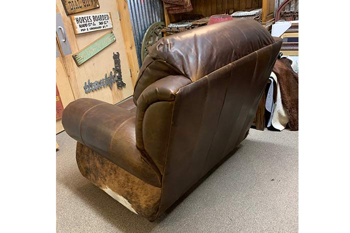 Coralino Cowhide Swivel Glider Recliner with Cowhide