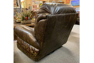 Coralino Swivel Glider Recliner With Tooled Leather