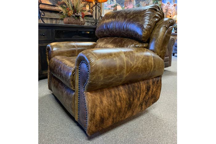 Coralino Cowhide and Gator Leather Recliner