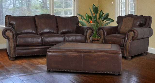 Katy Sofa With Tooled Leather