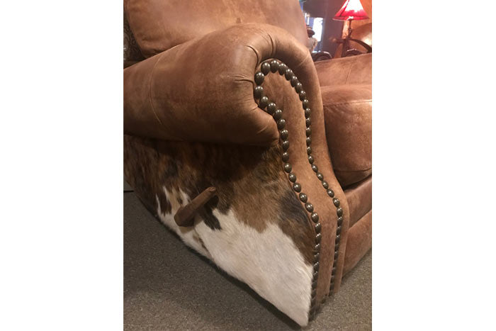 Russel Tooled Leather Recliner With Cowhide