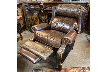Dark Rum Leather Wingback Recliner