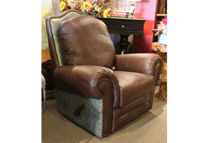 El Patron Recliner - Turquoise Tooled Leather
