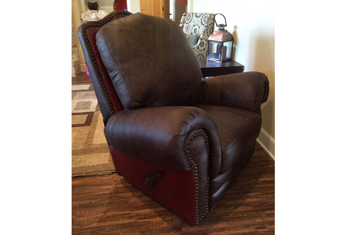 El Patron Swivel Glider Recliner W/ Red Tooled Leather