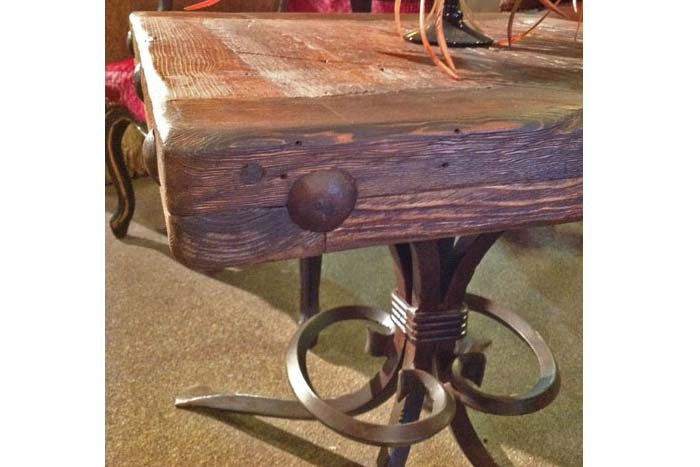 Old Wood And Iron End Table