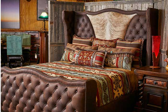 Frontier Tufted Leather Bed