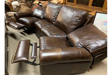 Curved Leather Reclining Sofa With Croc