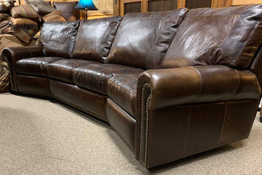 4-Cushion Curved Leather Reclining Sofa With Croc