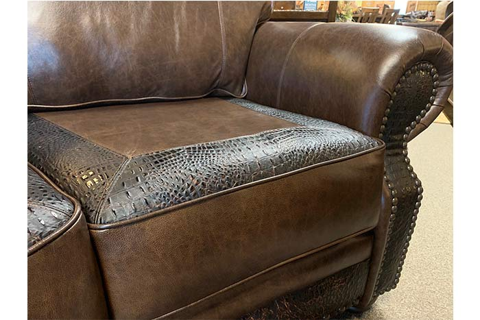 Gator and Cowhide Curved Sofa