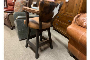 Cowhide And Leather Bar Chair