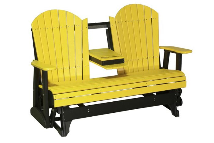 Fan Back Outdoor Glider Bench With Console