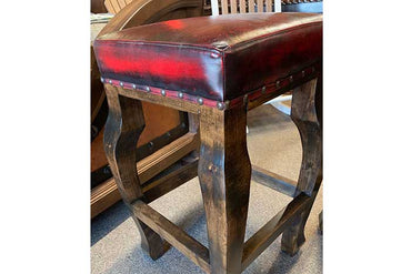 Andres Red Leather Stool