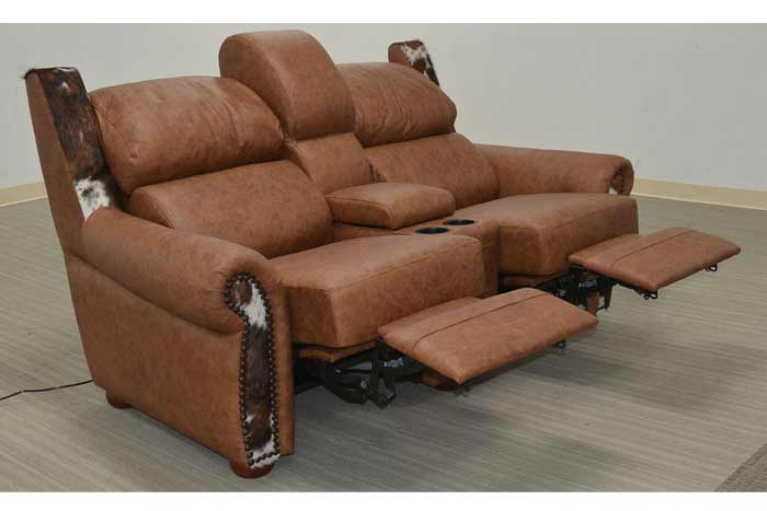 Leather and Cowhide Reclining Loveseat With Console