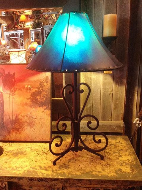 Tri-Pedestal Large Scroll Wrought Iron Table Lamp