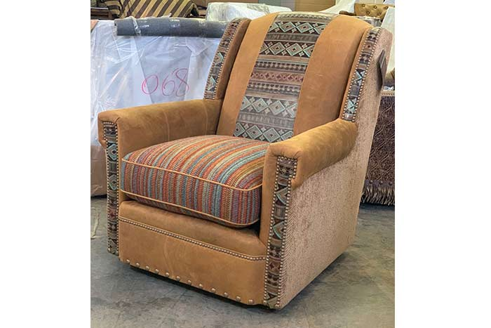 Moccasin Leather Swivel Chair