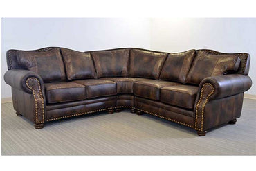 Katy Sectional with Tooled Leather
