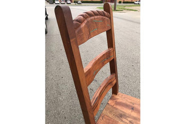 Ladder Back Mesquite Dining Chair With Turquoise Inlay