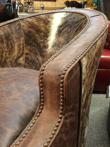 Laura Swivel Glider With Cowhide